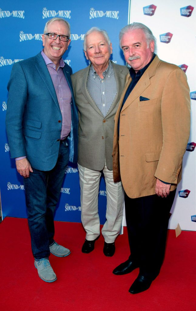 Rory Cowan ,Gay Byrne and Marty Whelan at the  opening night of The Sound of Music at The Bord Gais.Energy Theatre Dublin...Pictures:Brian McEvoy.