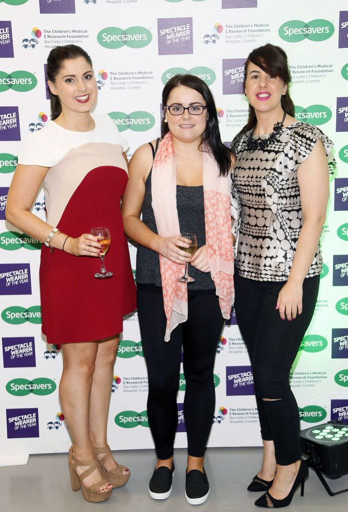 Emma Gorman, Ciara Lawless and Deirdre Sloane at the Irish Spectacle Wearer of the Year competition hosted by Specsavers and held in the RHA-photo Kieran Harnett