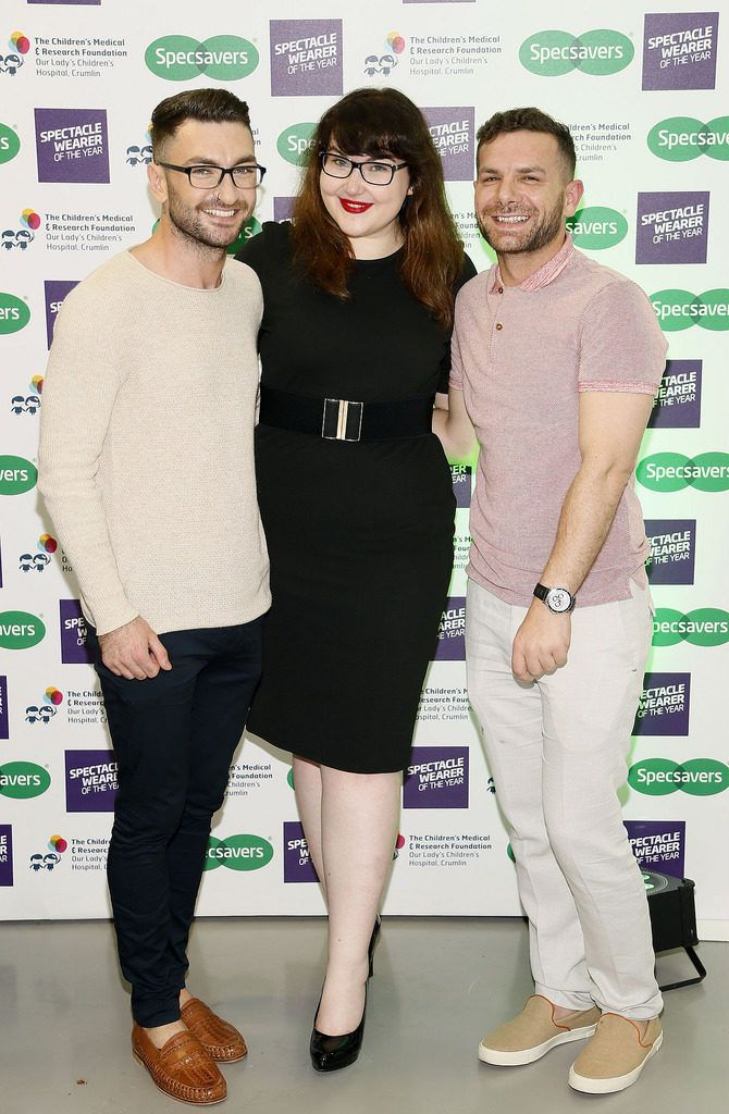 Neill Ryan, Sinead Kennedy and Mathew Ennis at the Irish Spectacle Wearer of the Year competition hosted by Specsavers and held in the RHA-photo Kieran Harnett