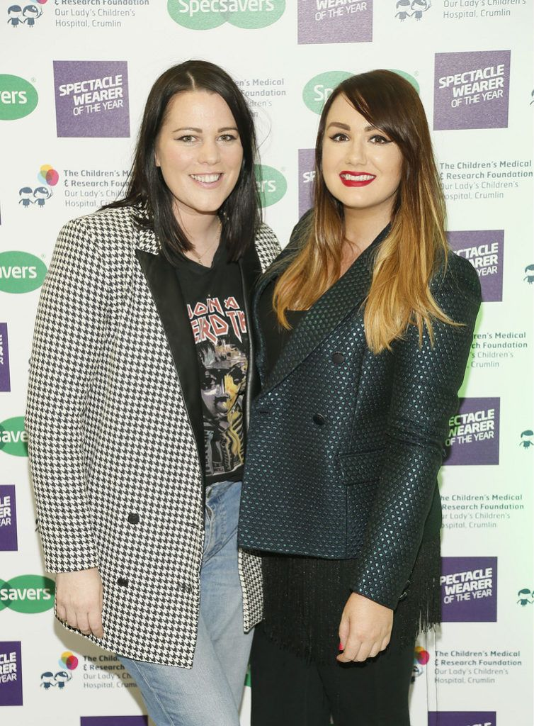 Corina Gaffey and Vicki Notaro at the Irish Spectacle Wearer of the Year competition hosted by Specsavers and held in the RHA-photo Kieran Harnett