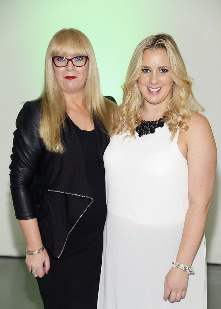 Elaine Johnston and Bronagh Agnew at the Irish Spectacle Wearer of the Year competition hosted by Specsavers and held in the RHA-photo Kieran Harnett