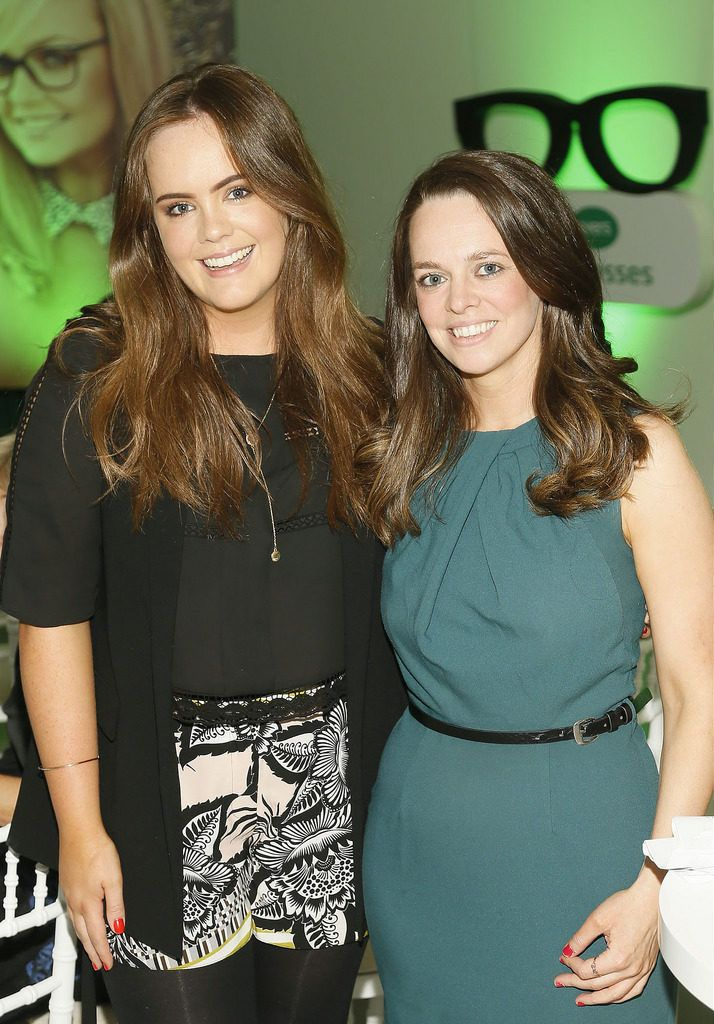 Aimee O'Driscoll and Niamh Queeney at the Irish Spectacle Wearer of the Year competition hosted by Specsavers and held in the RHA-photo Kieran Harnett