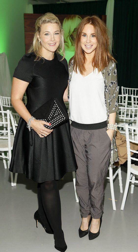 Laura Greer and Catriona Gallagher at the Irish Spectacle Wearer of the Year competition hosted by Specsavers and held in the RHA-photo Kieran Harnett