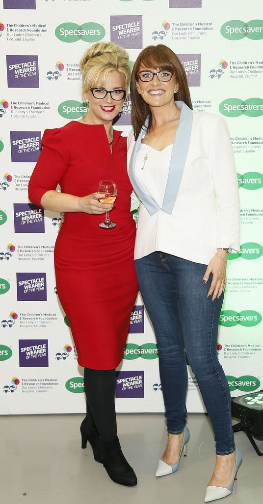 Vanetia Rooney and Susan Buisman at the Irish Spectacle Wearer of the Year competition hosted by Specsavers and held in the RHA-photo Kieran Harnett