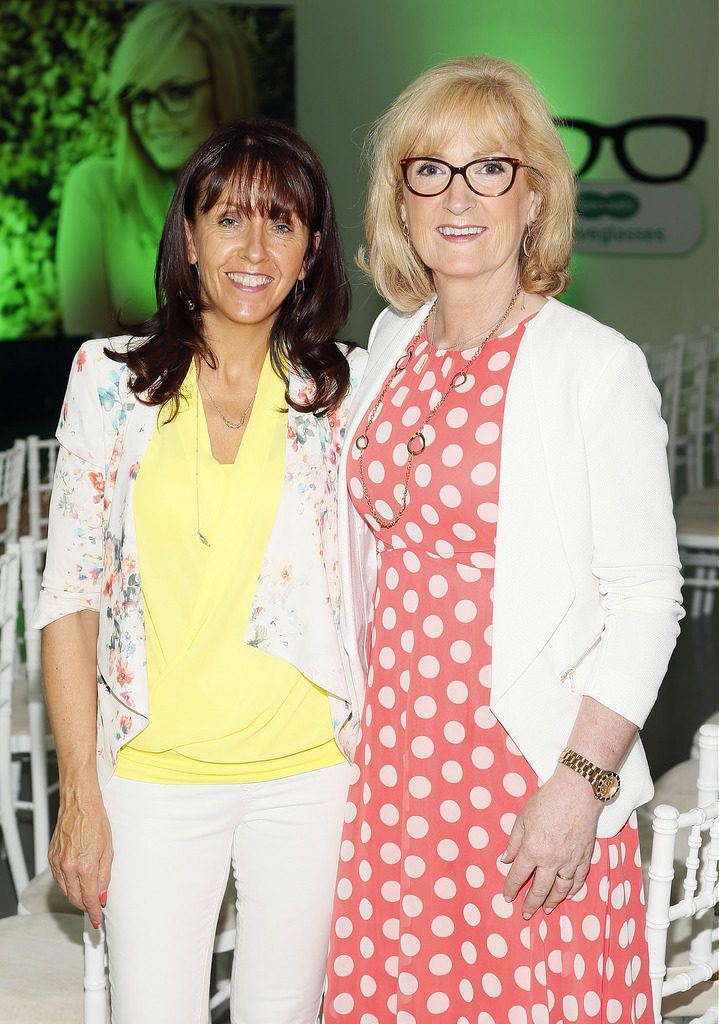 Rose Canton and Mary McGuigan at the Irish Spectacle Wearer of the Year competition hosted by Specsavers and held in the RHA-photo Kieran Harnett