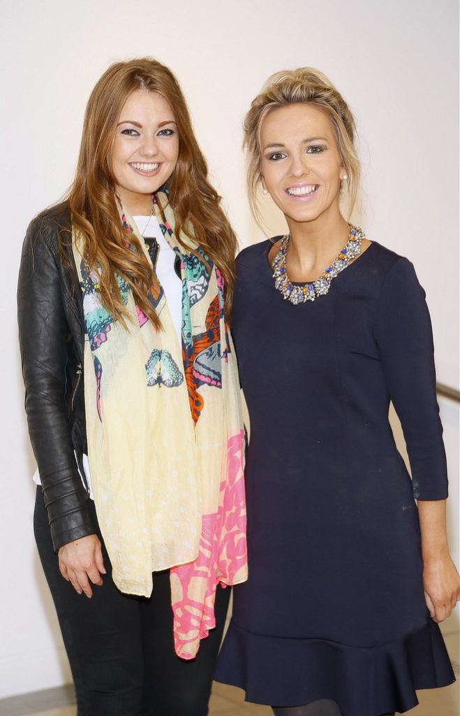 Nadine Boylan and Stephanie Whisker at the Irish Spectacle Wearer of the Year competition hosted by Specsavers and held in the RHA-photo Kieran Harnett