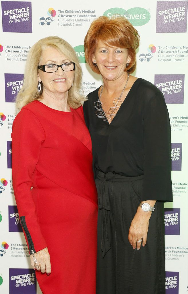 Monica Ward and Bernadette Gorman at the Irish Spectacle Wearer of the Year competition hosted by Specsavers and held in the RHA-photo Kieran Harnett