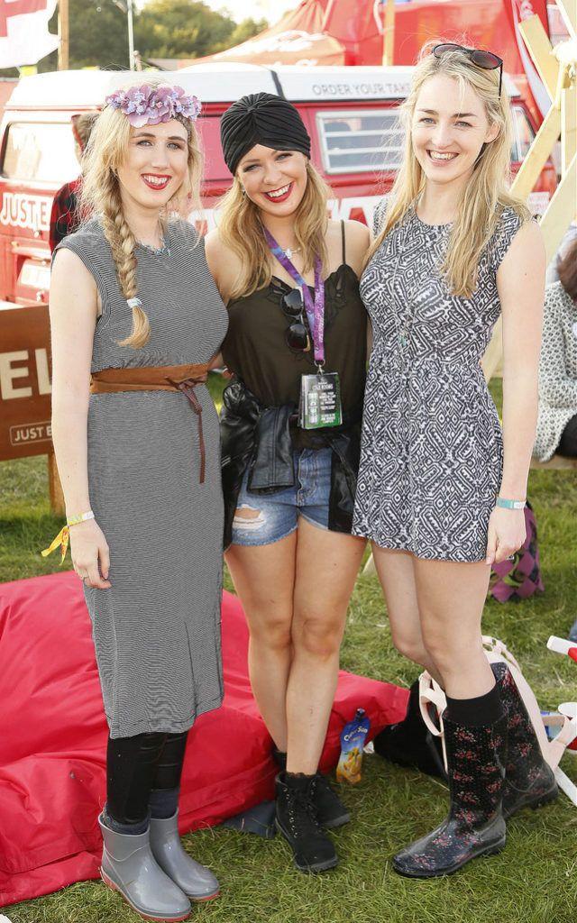 Aoife Lee, Tara Treacy and Rachel Enright at the JUST EAT Retreat at Electric Picnic -photo Kieran Harnett