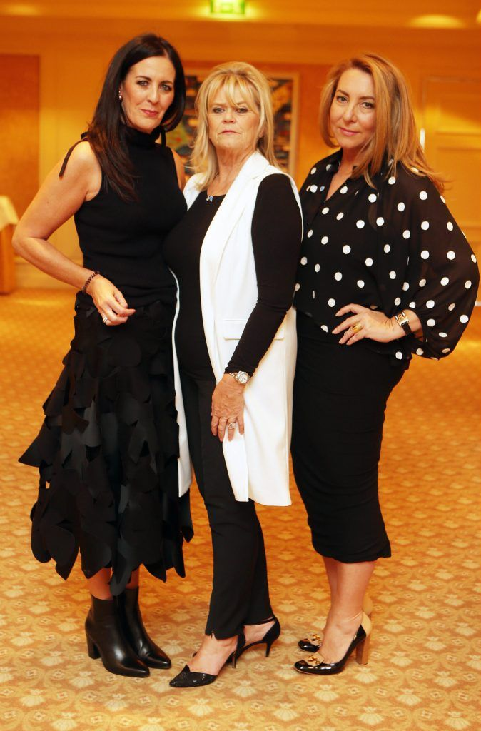 Pictured at the Brown Thomas / ISPCC charity luncheon at the Four Seasons Hotel in Dublin were (l to r): Shelly Corkery, Penny Dix, Caroline Downey. Photograph: Leon Farrell / Photocall Ireland
