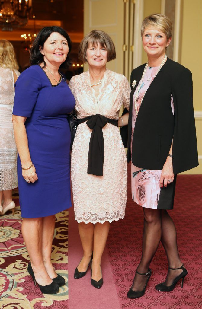 Pictured at the Brown Thomas / ISPCC charity luncheon at the Four Seasons Hotel in Dublin were (l to r): Theresa Kirk, Maria Kenny, Theresa Honan. Photograph: Leon Farrell / Photocall Ireland