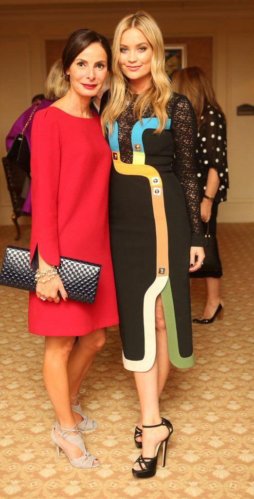 Pictured at the Brown Thomas / ISPCC charity luncheon at the Four Seasons Hotel in Dublin were (l to r): Caroline Sleiman and Laura Whitmore. Photograph: Leon Farrell / Photocall Ireland