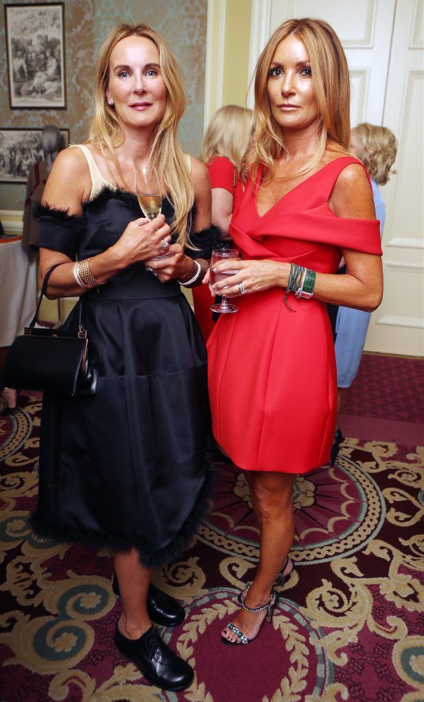 Pictured at the Brown Thomas / ISPCC charity luncheon at the Four Seasons Hotel in Dublin were (l to r): Susie Barrett and Fiona Healy. Photograph: Leon Farrell / Photocall Ireland