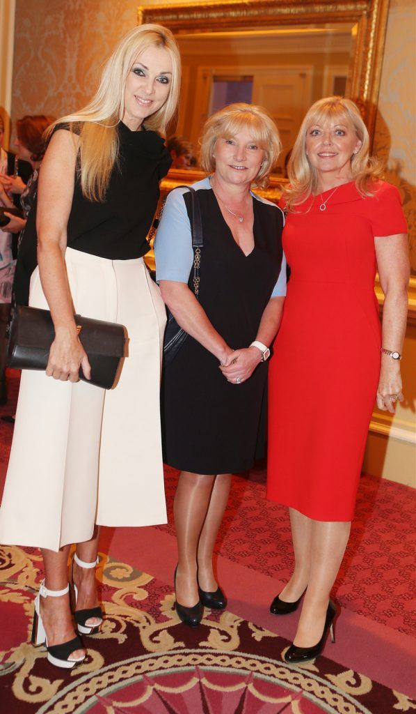 Pictured at the Brown Thomas / ISPCC charity luncheon at the Four Seasons Hotel in Dublin were (l to r): Clodagh Hopkins, Caroline Bergin and Noeleen McCreevy. Photograph: Leon Farrell / Photocall Ireland