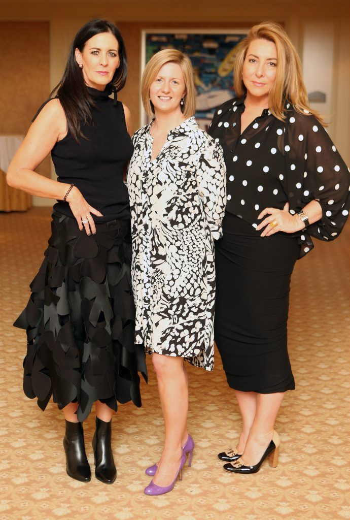 Pictured at the Brown Thomas / ISPCC charity luncheon at the Four Seasons Hotel in Dublin were (l to r): Shelly Corkery, Grainia Long, Caroline Downey. Photograph: Leon Farrell / Photocall Ireland