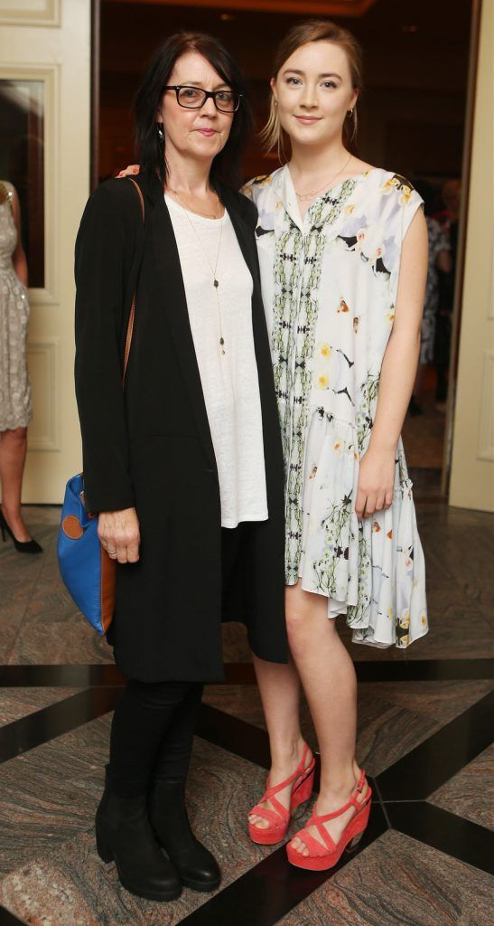 Pictured at the Brown Thomas / ISPCC charity luncheon at the Four Seasons Hotel in Dublin were (l to r): Monica Ronan and Saoirse Ronan. Photograph: Leon Farrell / Photocall Ireland