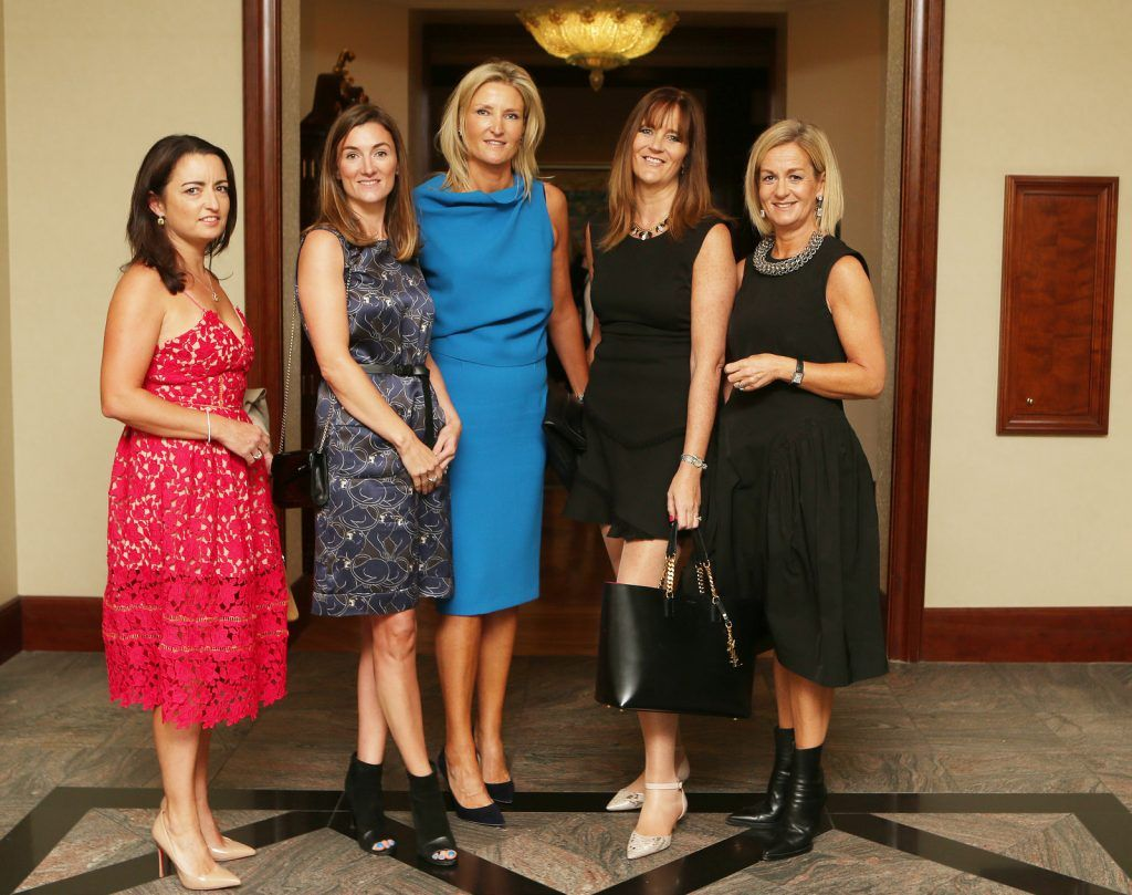 Pictured at the Brown Thomas / ISPCC charity luncheon at the Four Seasons Hotel in Dublin were (l to r): Joanne Mulville, Christine Molloy, Aisling Moore, Aisling O'Gara–Drummy, Ruth Dwan. Photograph: Leon Farrell / Photocall Ireland