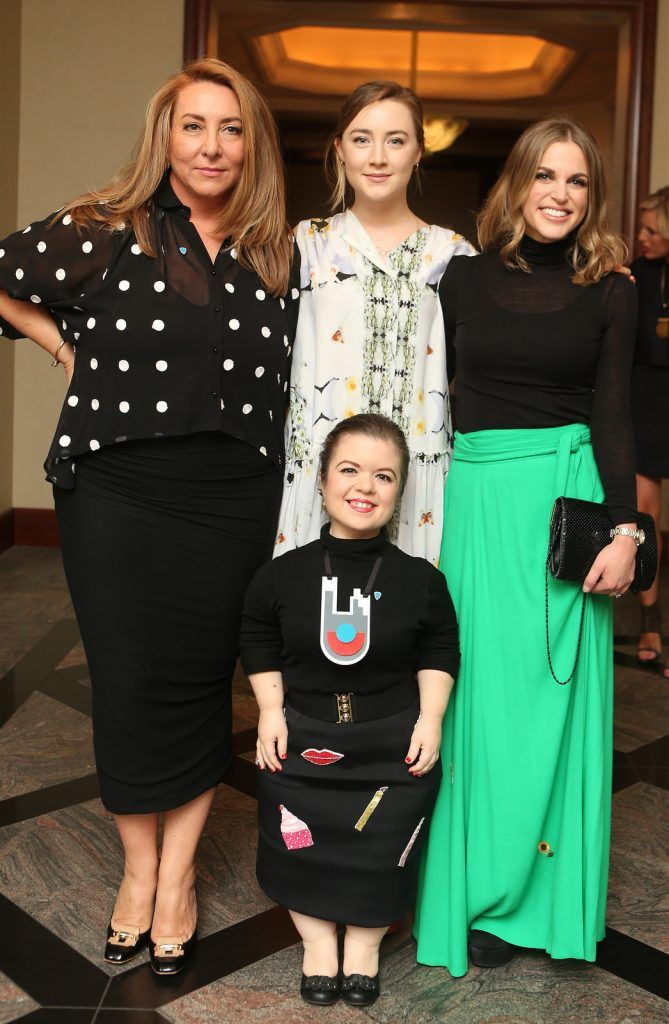 Pictured at the Brown Thomas / ISPCC charity luncheon at the Four Seasons Hotel in Dublin were (l to r): Caroline Downey, Saoirse Ronan, Amy Huberman, Sinead Burke. Photograph: Leon Farrell / Photocall Ireland
