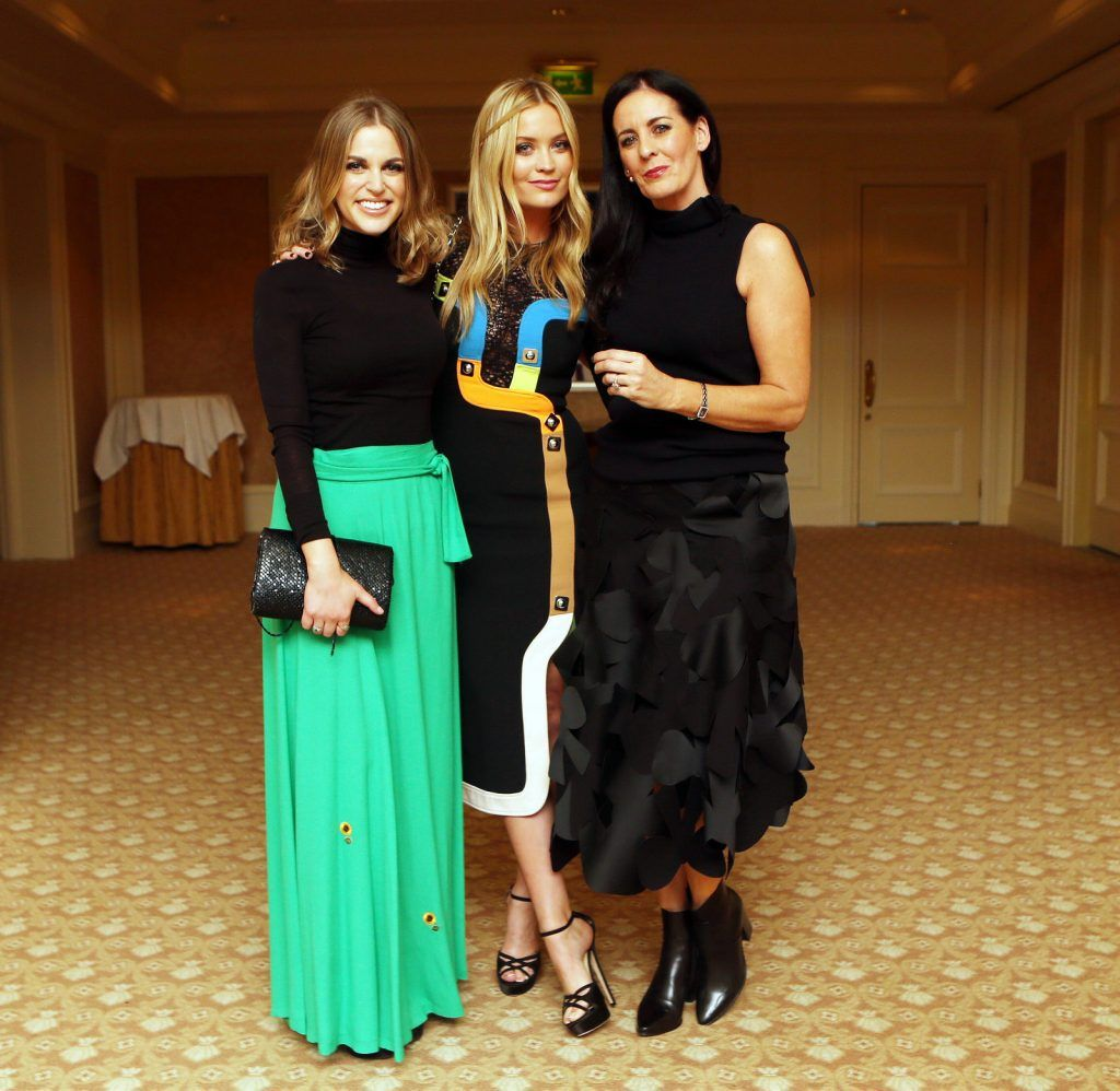Pictured at the Brown Thomas / ISPCC charity luncheon at the Four Seasons Hotel in Dublin were (l to r): Amy Huberman, Laura Whitmore and Shelly Corkery. Photograph: Leon Farrell / Photocall Ireland