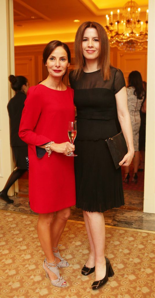 Pictured at the Brown Thomas / ISPCC charity luncheon at the Four Seasons Hotel in Dublin were (l to r): Caroline Sleiman, Annmarie O'Connor. Photograph: Leon Farrell / Photocall Ireland