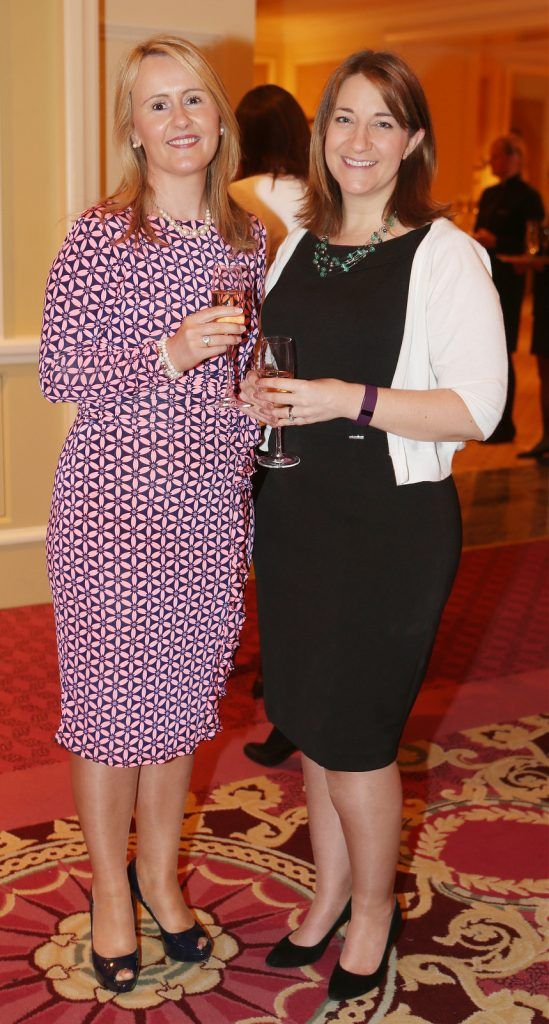 Pictured at the Brown Thomas / ISPCC charity luncheon at the Four Seasons Hotel in Dublin were (l to r): Margaret Connolly, Michelle Geraghty. Photograph: Leon Farrell / Photocall Ireland