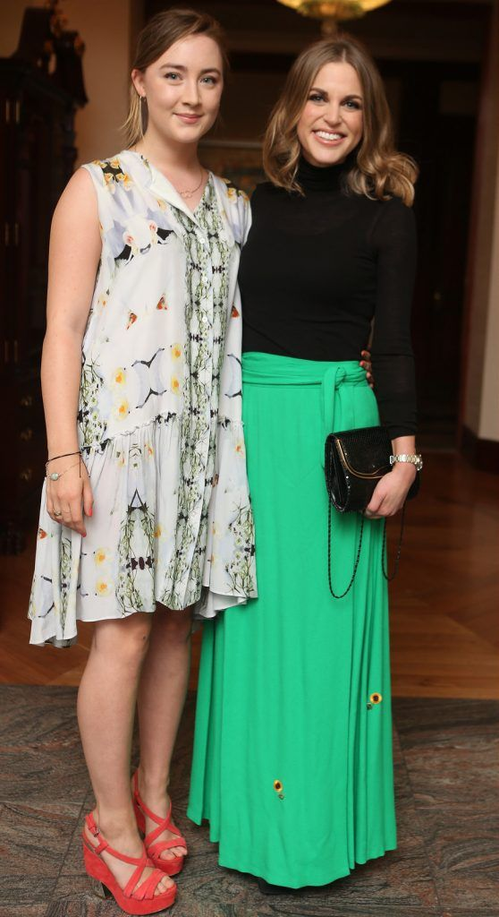 Pictured at the Brown Thomas / ISPCC charity luncheon at the Four Seasons Hotel in Dublin were (l to r): Saoirse Ronan & Amy Huberman. Photograph: Leon Farrell / Photocall Ireland