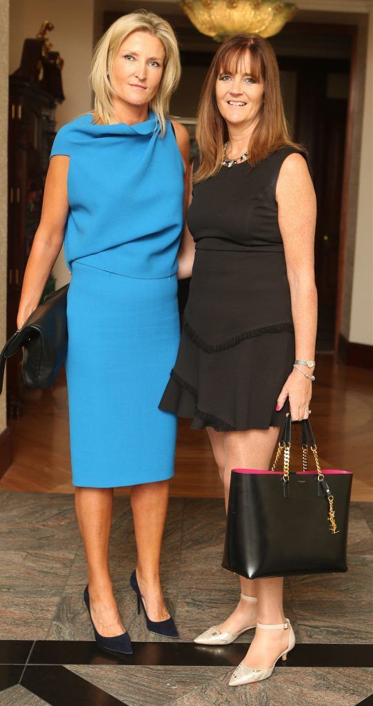 Pictured at the Brown Thomas / ISPCC charity luncheon at the Four Seasons Hotel in Dublin were (l to r): Christine Molloy and Aisling Moore. Photograph: Leon Farrell / Photocall Ireland