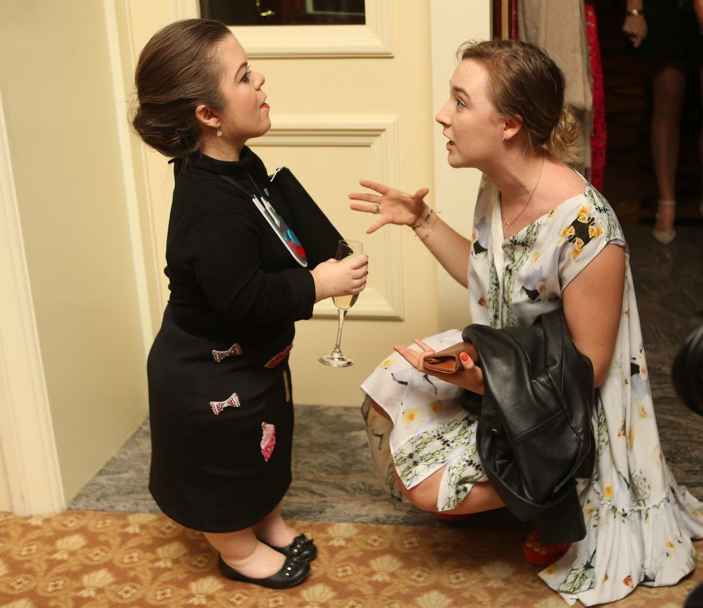 Pictured at the Brown Thomas / ISPCC charity luncheon at the Four Seasons Hotel in Dublin were (l to r): Sinead Burke and Saoirse Ronan. Photograph: Leon Farrell / Photocall Ireland