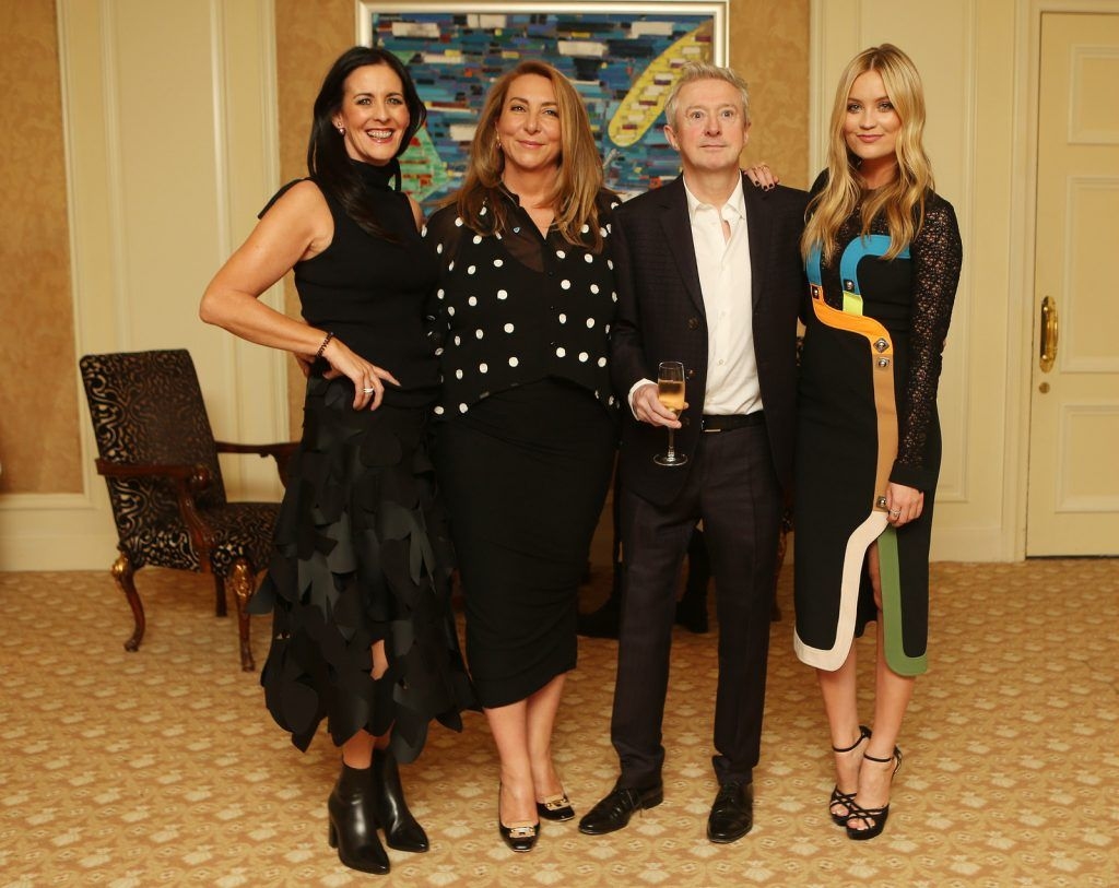 Pictured at the Brown Thomas / ISPCC charity luncheon at the Four Seasons Hotel in Dublin were (l to r): Shelly Corkery, Caroline Downey, Louis Walsh and Laura Whitmore. Photograph: Leon Farrell / Photocall Ireland