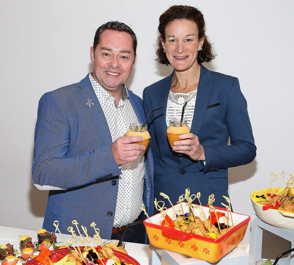 "Neven Maguire and Sonia O Sullivan at the launch of Neven Maguire's cookbook ""The Nation's favourite Healthy Food"" at Eathos in Upper Baggot Street,Dublin..Picture :Brian Mcevoy."