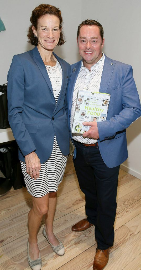 "Sonia O Sullivan and Neven Maguire at the launch of Neven Maguire's cookbook ""The Nation's favourite Healthy Food"" at Eathos in Upper Baggot Street,Dublin..Picture :Brian Mcevoy."