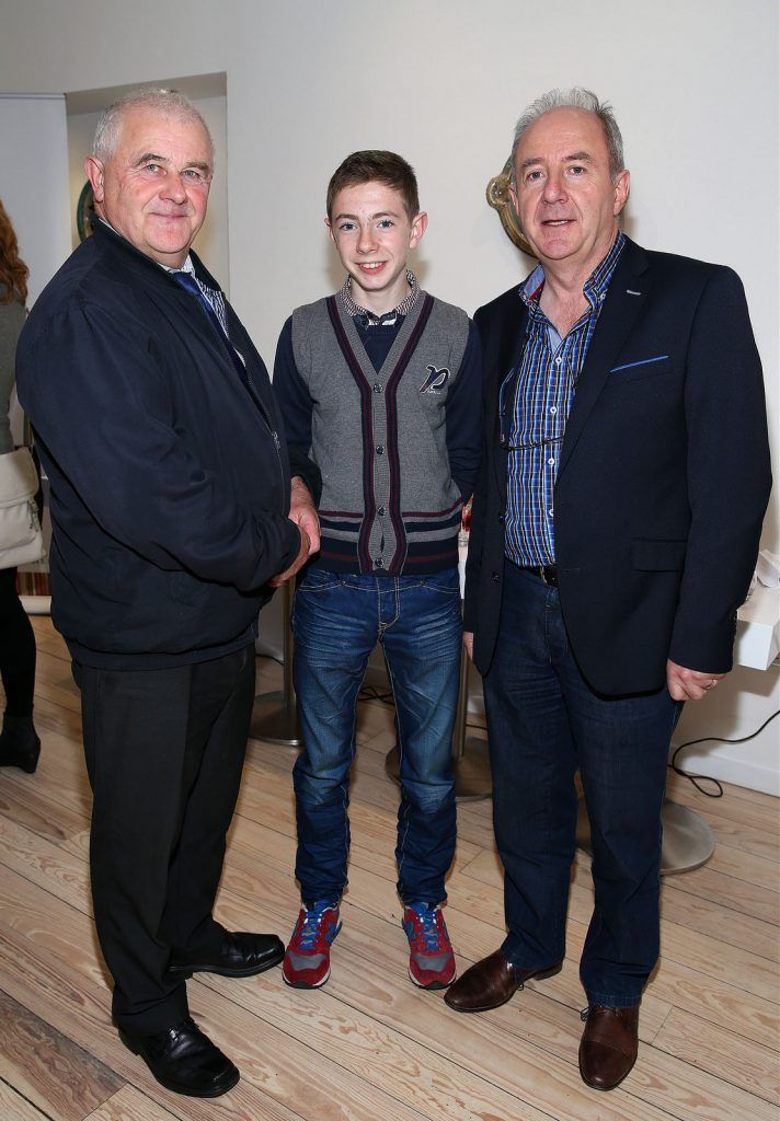 "Jimmy Scott,Austin Duignan (Jnr) and Austin Duignan (Snr)at the launch of Neven Maguire's cookbook ""The Nation's favourite Healthy Food"" at Eathos in Upper Baggot Street,Dublin..Picture :Brian Mcevoy."