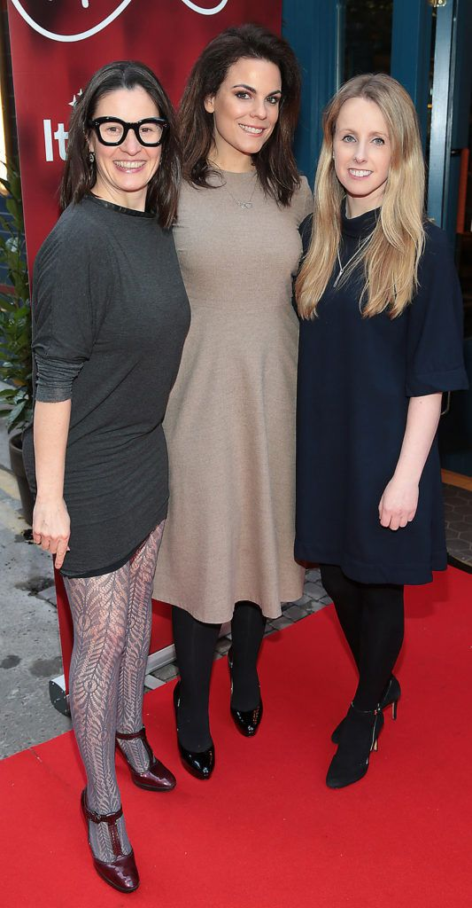 Anna Maria Barry, Avila Lipsett and Selene Alford at the launch of FIDAY 2016 supported by Virgin Media Ireland  at Zozimus Bar,Dublin. FIDay supports independent retailers by encouraging people to vote with their feet and visit their local boutiques  on April 21st 2016.Picture Brian McEvoy.