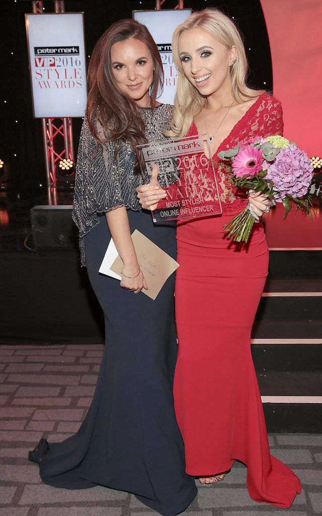 Jodi Albert (left) with Rosie Connolly who was awarded the prize of most stylish online influencer  at The Peter Mark Vip Style Awards at The Marker Hotel in Dublin..Picture:Brian McEvoy