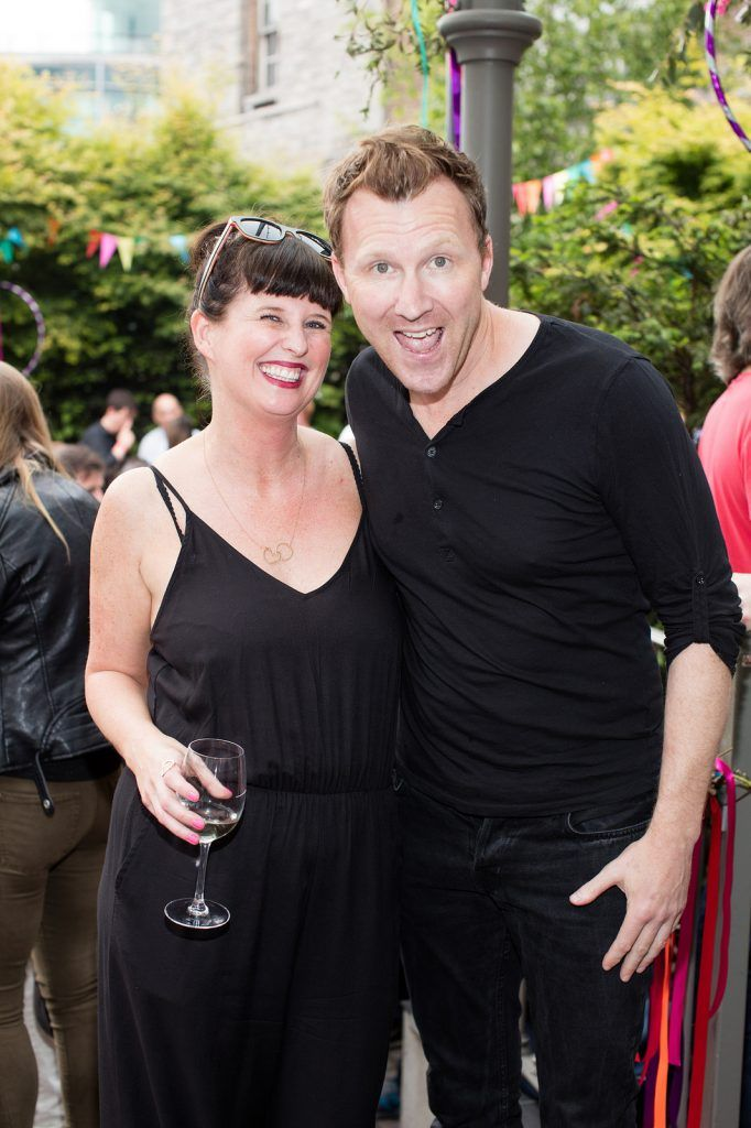Clodagh O'Hagan & Jason Byrne pictured at the Vodafone Comedy Festival launch at The Odeon.   Photo: Anthony Woods