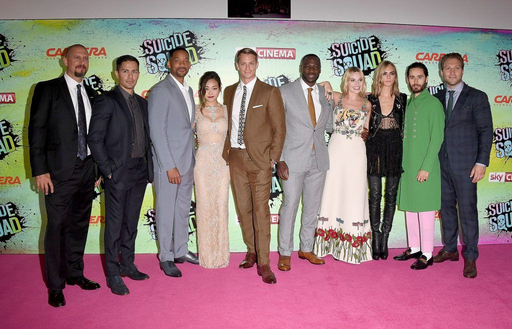 (L to R) David Ayer, Jay Hernandez, Will Smith, Karen Fukuhara, Joel Kinnaman, Adewale Akinnuoye-Agbaje, Margot Robbie, Cara Delevingne, Jared Leto and Jai Courtney attend the Suicide Squad European Premiere sponsored by Carrera on August 3, 2016 in London, England.  (Photo by Stuart C. Wilson/Getty Images for carrera)