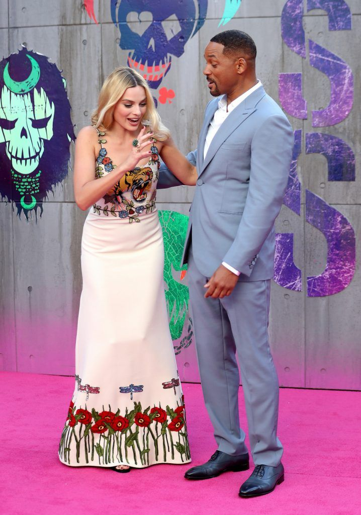"Margot Robbie and Will Smith attend the European Premiere of ""Suicide Squad"" at the Odeon Leicester Square on August 3, 2016 in London, England.  (Photo by Chris Jackson/Getty Images)"