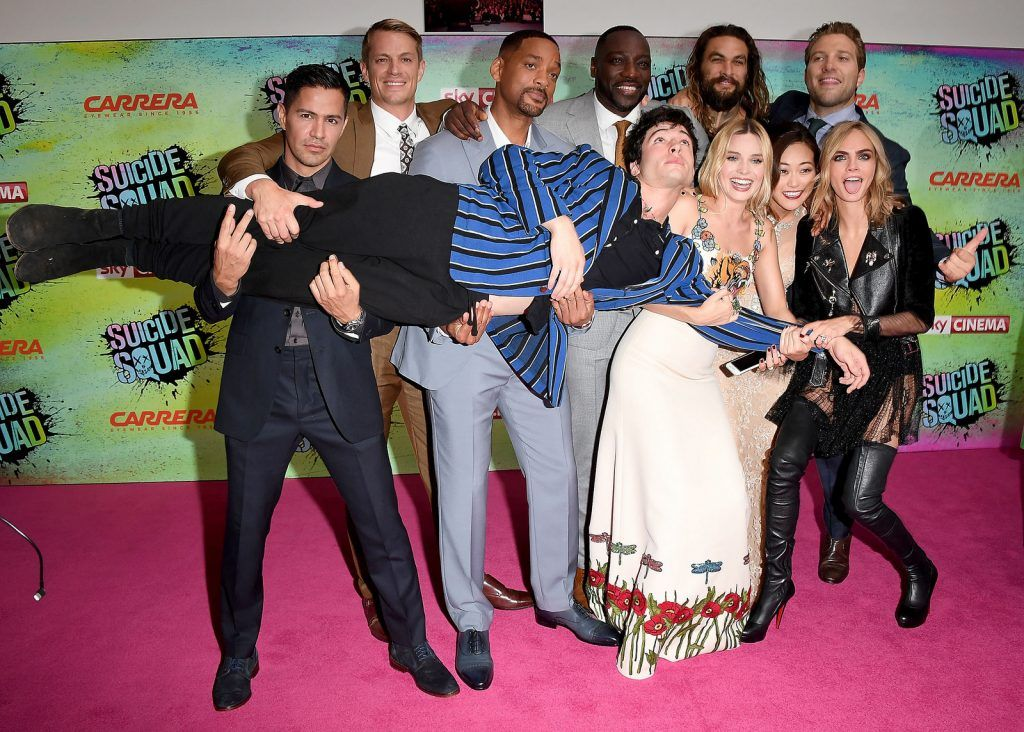 (L to R) Jay Hernandez, Joel Kinnaman, Will Smith, Adewale Akinnuoye-Agbaje, Ezra Miller, Jason Momoa, Margot Robbie, Karen Fukuhara, Cara Delevingne and Jai Courtney attend the Suicide Squad European Premiere sponsored by Carrera on August 3, 2016 in London, England.  (Photo by Stuart C. Wilson/Getty Images for carrera)