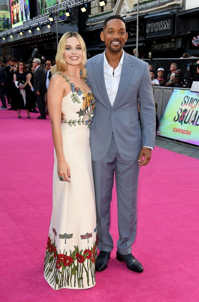 Margot Robbie and Will Smith attend the Suicide Squad European Premiere sponsored by Carrera on August 3, 2016 in London, England.  (Photo by Stuart C. Wilson/Getty Images for carrera)