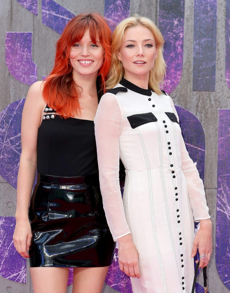 "Georgia May Jagger and Clara Paget attend the European Premiere of ""Suicide Squad"" at the Odeon Leicester Square on August 3, 2016 in London, England.  (Photo by Chris Jackson/Getty Images)"