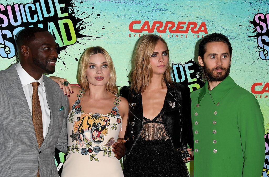 (L-R) Adewale Akinnuoye-Agbaje, Margot Robbie, Cara Delevingne and Jared Leto  attend the Suicide Squad European Premiere sponsored by Carrera on August 3, 2016 in London, England.  (Photo by Stuart C. Wilson/Getty Images for carrera)