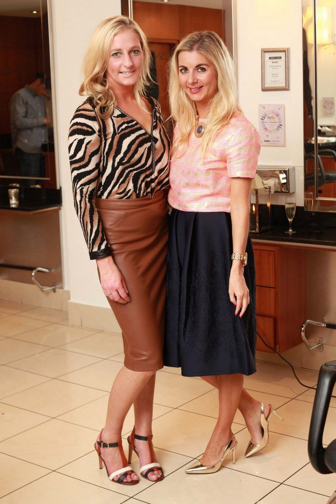 Ann-Marie Hodnett, Amaries Fashion Tips, and Eimear Singleton, Diary of a Style Hunter, pictured at the Peter Mark Rapture launch event in the Peter Mark Winthrop St. salon, Cork. Rapture are a new hair extension range to Ireland, exclusive to Peter Mark.  Pic: Diane Cusack