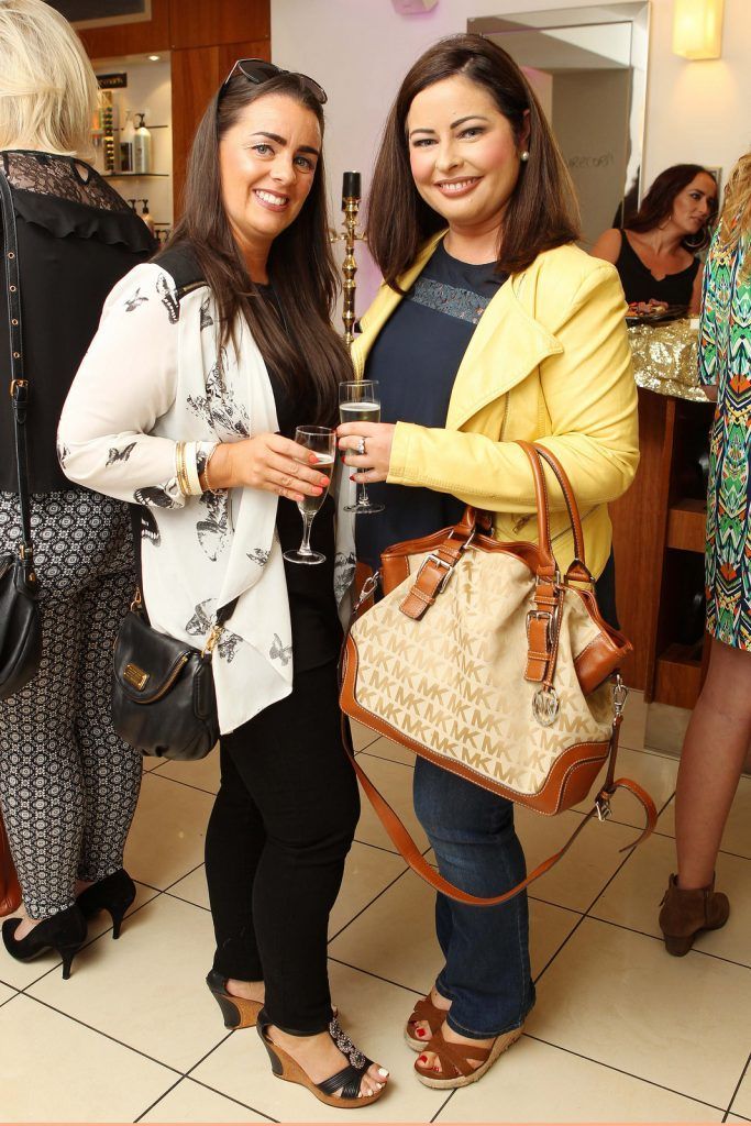Karen Hourihan from Ballyvolane and Sandra Murphy of sandramurphy.ie pictured at the Peter Mark Rapture launch event in the Peter Mark Winthrop St. salon, Cork. Rapture are a new hair extension range to Ireland, exclusive to Peter Mark.  Pic: Diane Cusack