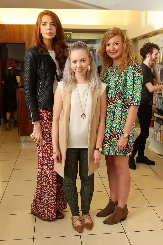 Chelsea O'Connor, Ballyvolane, Liosa Horgan, Douglas, and Amy Dennehy, Douglas, pictured at the Peter Mark Rapture launch event in the Peter Mark Winthrop St. salon, Cork. Rapture are a new hair extension range to Ireland, exclusive to Peter Mark.  Pic: Diane Cusack