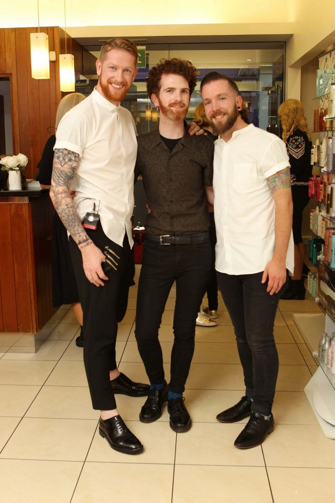 Michael Corcoran, Peter Mark, Luke Nolan and Ciaran Purcell pictured at the Peter Mark Rapture launch event in the Peter Mark Winthrop St. salon, Cork. Rapture are a new hair extension range to Ireland, exclusive to Peter Mark. Pic: Diane Cusack