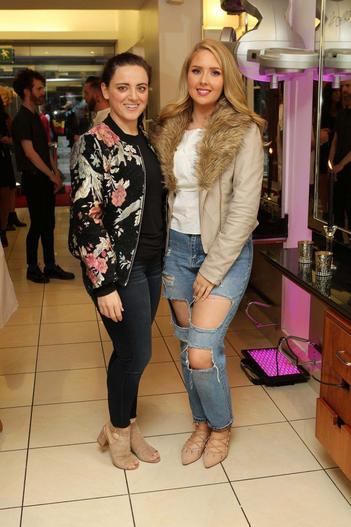 Lisa Leonard, Banteer, and Kelsey McCarthy, Castlemartyr, pictured at the Peter Mark Rapture launch event in the Peter Mark Winthrop St. salon, Cork. Rapture are a new hair extension range to Ireland, exclusive to Peter Mark.  Pic: Diane Cusack