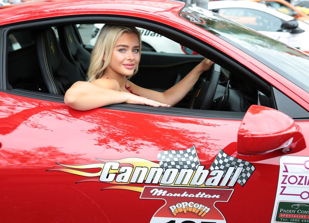 Julia Milcarek at the start of the Cannonball Supercar 2016 event at Point Village Dublin. Proceeds from this year's Supercar spectacle will go to the Pieta House charity (Photo by Brian McEvoy).