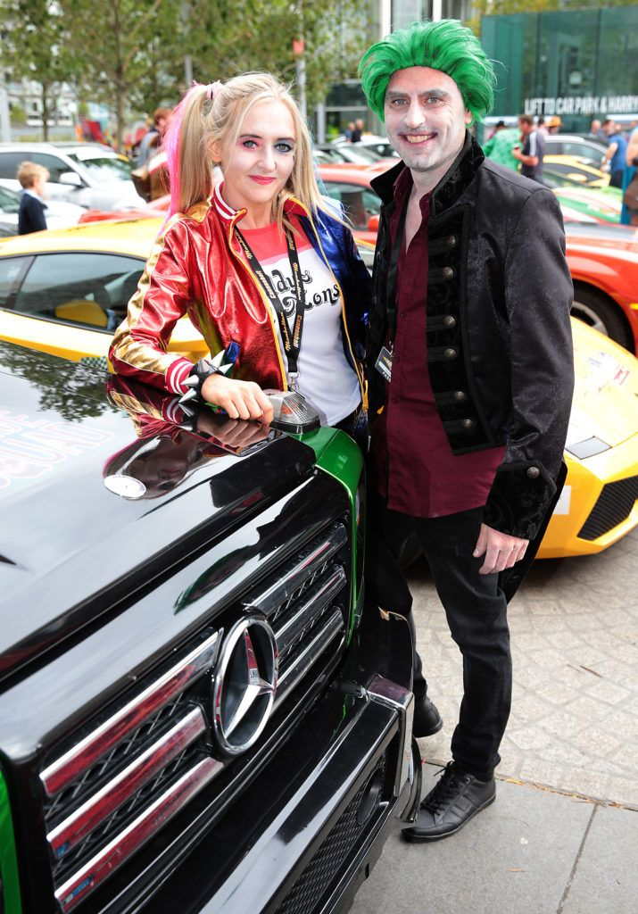 Orla Glackin and James Byrne at the start of the Cannonball Supercar 2016 event at Point Village Dublin. Proceeds from this year's Supercar spectacle will go to the Pieta House charity (Photo by Brian McEvoy).