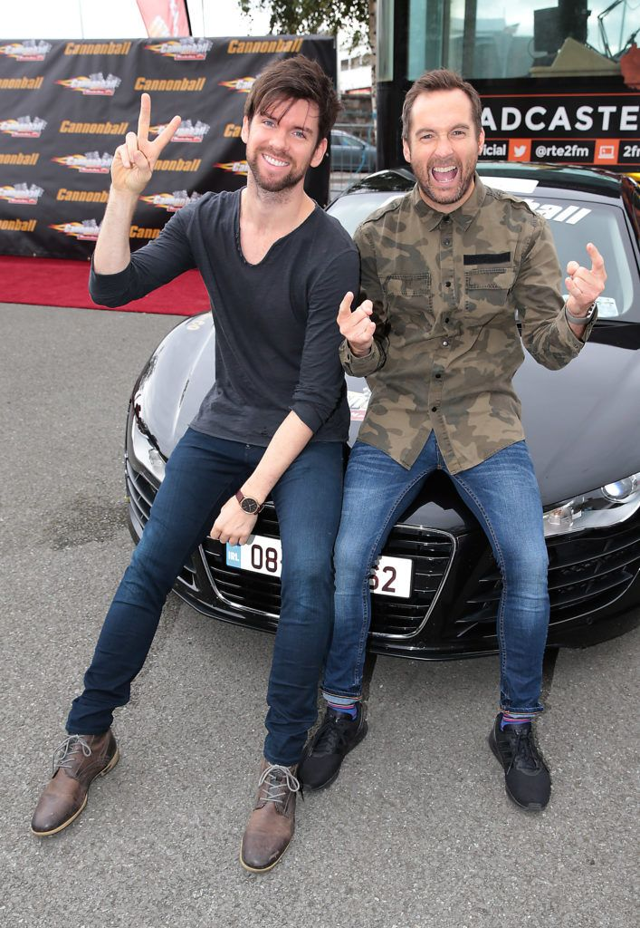 2fms Eoghan McDermott and Keith Walsh at the start of the Cannonball Supercar 2016 event at Point Village Dublin. Proceeds from this year's Supercar spectacle will go to the Pieta House charity (Photo by Brian McEvoy).