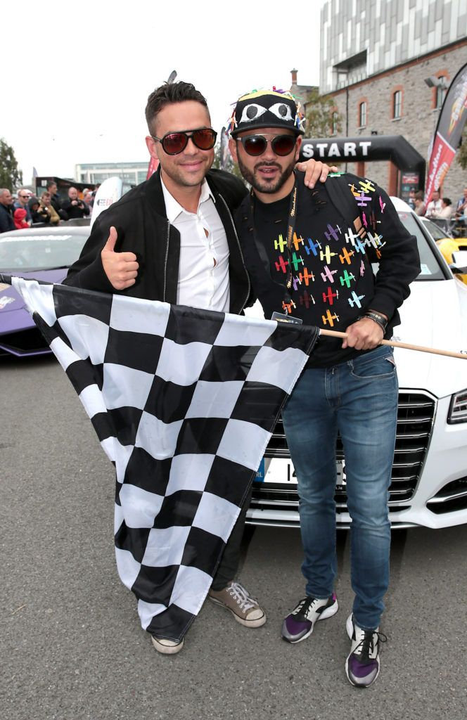 Bruno Langley and Ryan Thomas at the start of the Cannonball Supercar 2016 event at Point Village Dublin. Proceeds from this year's Supercar spectacle will go to the Pieta House charity (Photo by Brian McEvoy).