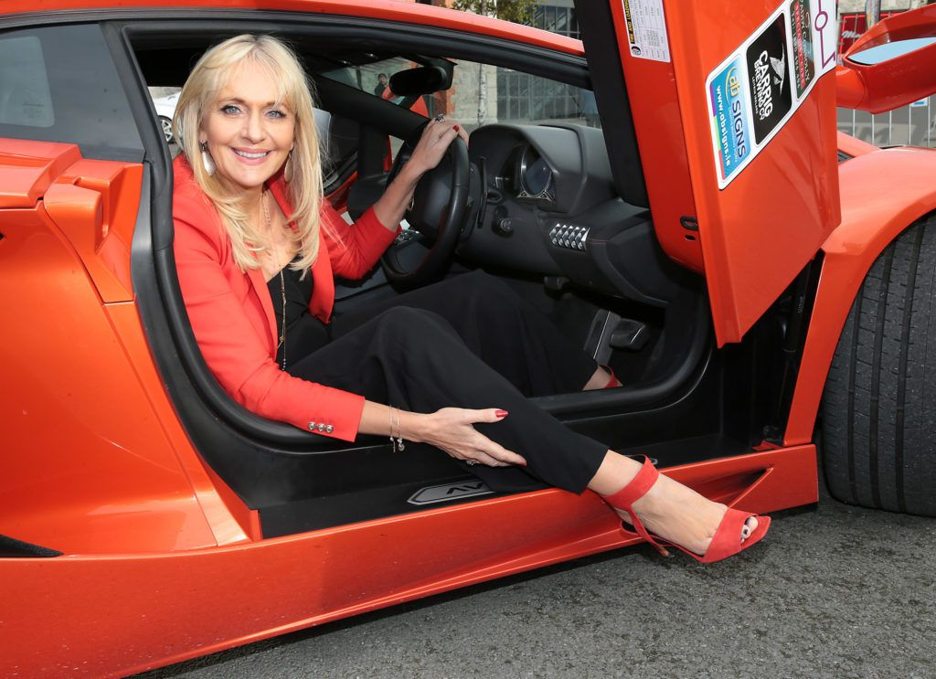 Miriam O Callaghan at the start of the Cannonball Supercar 2016 event at Point Village Dublin. Proceeds from this year's Supercar spectacle will go to the Pieta House charity (Photo by Brian McEvoy).